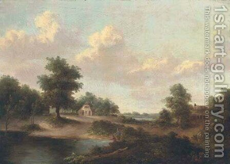 A landscape with anglers at a pond, a cottage beyond by (after) Norbert Joseph Carl Grund - Reproduction Oil Painting