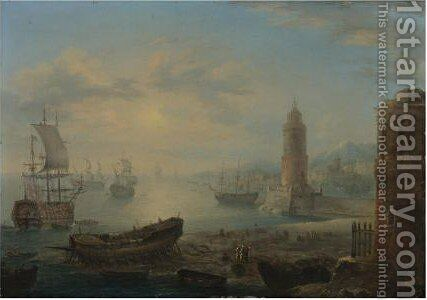 View Of Mediteranean Port Capriccios With Men-O'war And Oriental Figures by (after) Orazio Grevenbroeck - Reproduction Oil Painting