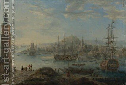 View Of Mediteranean Port Capriccios With Men-O'war And Oriental Figures 2 by (after) Orazio Grevenbroeck - Reproduction Oil Painting