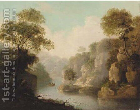 Figures boating in a river landscape by (after) Patrick Nasmyth - Reproduction Oil Painting