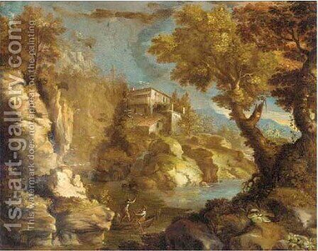 A wooded river landscape with a boat and rocks by (after) Paul Bril - Reproduction Oil Painting