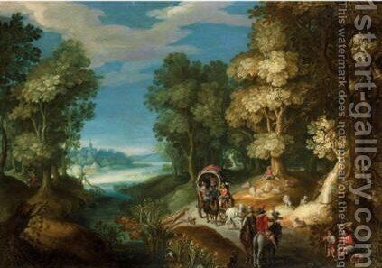 Travellers On A Road Before An Extensive Landscape, A Small Hamlet On The Mountainside Above by (after) Paul Bril - Reproduction Oil Painting