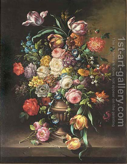 Parrot tulips, peonies, morning glory, hydrangers, poppies and narcissi, in an urn on a stone ledge by (after) Paul Theodor Van Brutssel - Reproduction Oil Painting