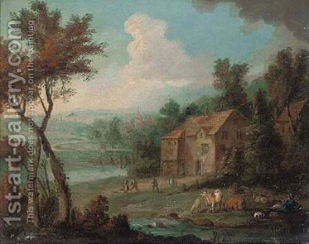 A river landscape with a drover resting with his cattle by a house by (after) Peter Tillemans - Reproduction Oil Painting