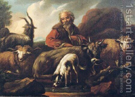 A shepherd with his flock in a landscape, a dog drinking in the foreground by (after) Philipp Peter Roos - Reproduction Oil Painting
