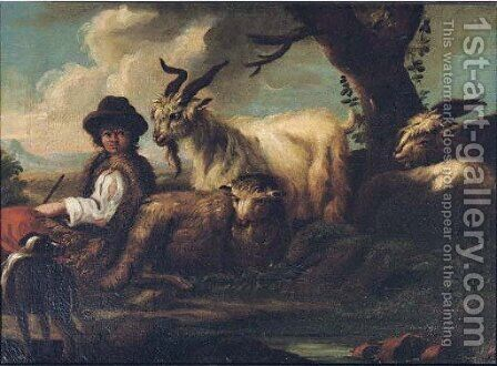 A shepherd with his flock in a landscape by (after) Philipp Peter Roos - Reproduction Oil Painting