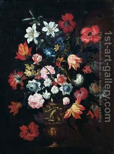 Poppies, tulips, lilies and other flowers in a sculpted vase by (after) Pieter Casteels - Reproduction Oil Painting