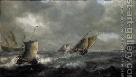 Two Wijdships And A Pink With An English Two-Master Beyond, Off A Coast In Heavy Seas. by (after) Pieter The Elder Mulier - Reproduction Oil Painting