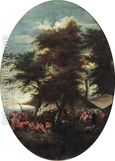 An army at rest by an encampment by (after) Pieter Van Bredael - Reproduction Oil Painting