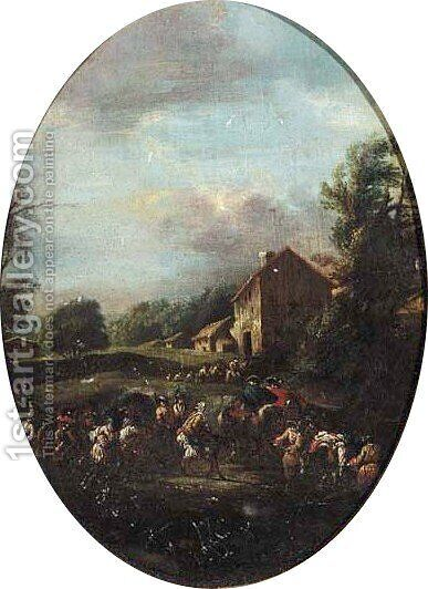 An army train in a landscape by (after) Pieter Van Bredael - Reproduction Oil Painting