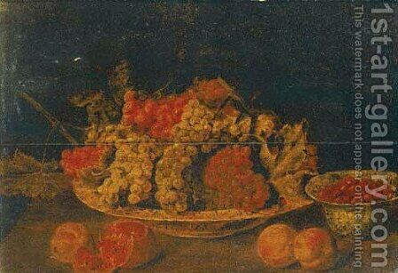 An earthenware dish of grapes on the vine, a bowl of raspberries by (after) Pieter Van Overschee - Reproduction Oil Painting