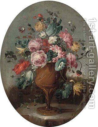 Roses, a tulip, carnations, and other flowers in an vase on a ledge by (after) Pseudo-Guardi - Reproduction Oil Painting