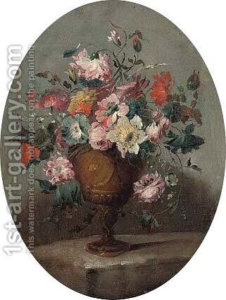 Roses, carnations, narcissi and other flowers in an vase on a ledge by (after) Pseudo-Guardi - Reproduction Oil Painting