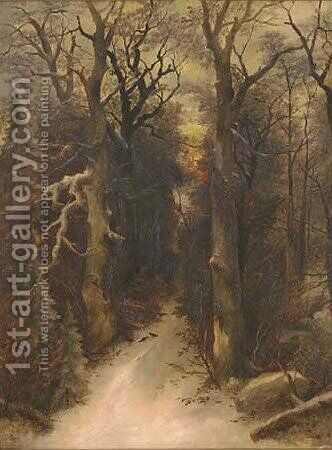 The sun setting over a woodland path by (after) Remigius Adriannus Van Haanen - Reproduction Oil Painting