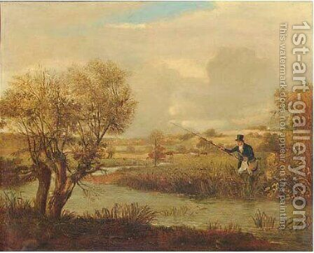 Fishing on the bend of a river by (after) Samuel John Egbert Jones - Reproduction Oil Painting
