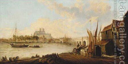 Westminster Abbey from the south bank of the Thames by (after) Samuel Scott - Reproduction Oil Painting