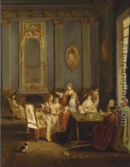 Elegant card players in an interior by (after) Sebastien Leclerc, Called Leclerc Des Gobelins - Reproduction Oil Painting