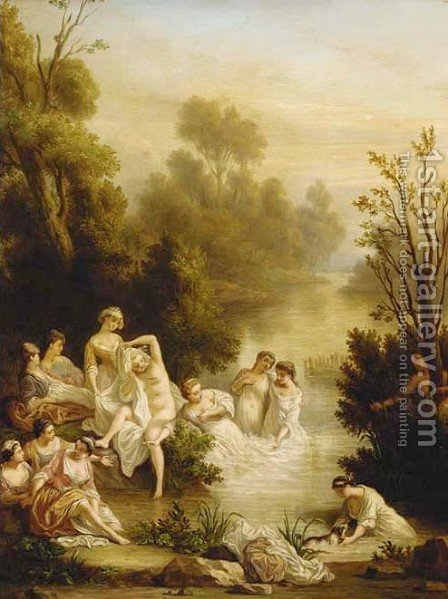 Ladies bathing at a stream by (after) Sebastien Leclerc, Called Leclerc Des Gobelins - Reproduction Oil Painting