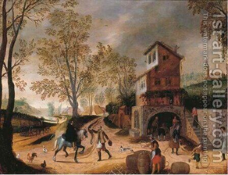 Travellers, peasants and children playing by the outskirts of a village by (after) Sebastien Vrancx - Reproduction Oil Painting