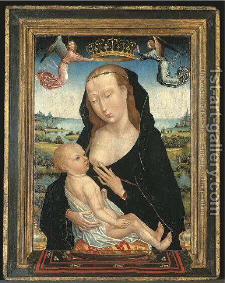 The Virgin and Child 2 by (after) Simon Marmion - Reproduction Oil Painting