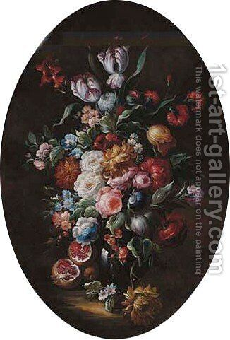 Roses, carnations, morning glory and other flowers in a glass vase, with pomegranates by (after) Simon Pietersz. Verelst - Reproduction Oil Painting
