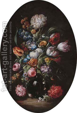 Tulips, roses, daisies and other flowers in a glass vase by (after) Simon Pietersz. Verelst - Reproduction Oil Painting