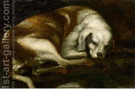 Study Of Resting Hound by (after) Sinibaldo Scorza - Reproduction Oil Painting