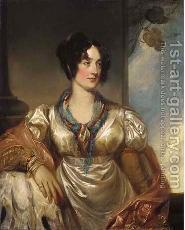 Portrait of Lady Milner, half-length, in a white dress and pink by (after) Sir Francis Grant - Reproduction Oil Painting