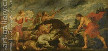 The Calydonian Boar Hunt by (after) Sir Peter Paul Rubens - Reproduction Oil Painting