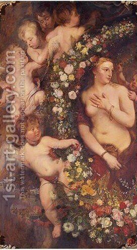 Venus Surrounded By A Garland Of Flowers And Putti by (after) Sir Peter Paul Rubens - Reproduction Oil Painting