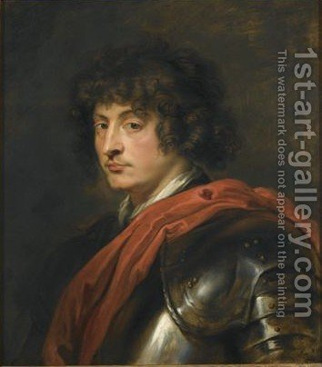 Portrait Of A Young Captain, Half Length, Wearing Armour And A Red Sash by (after) Sir Peter Paul Rubens - Reproduction Oil Painting