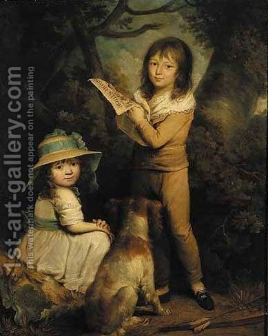 Double portrait of a boy and girl by (after) Sir William Beechey - Reproduction Oil Painting