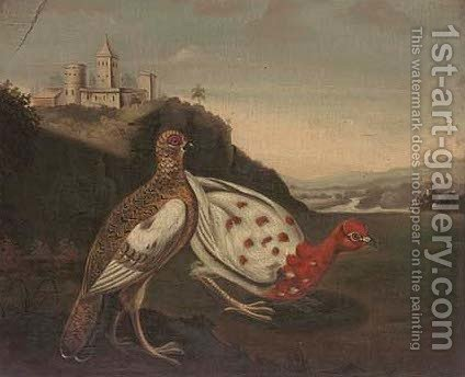 Pheasants before a castle by (after) Stephen Elmer - Reproduction Oil Painting