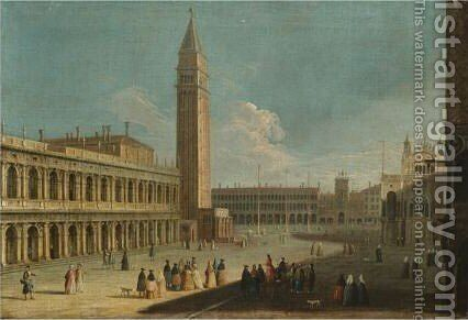 A View Of The Piazzetta Looking North Towards Piazza San Marco With The Biblioteca Marciana And Campanile On The Left by (after) The Master Of The Langmatt Foundation View Domenichini - Reproduction Oil Painting