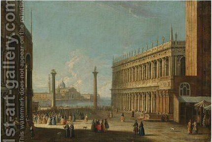 Venice, A View Of The Piazzetta From The Basilica by (after) The Master Of The Langmatt Foundation View Domenichini - Reproduction Oil Painting