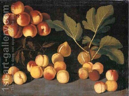 Peaches, apricots and figs on a forest floor by (after) The Pseudo-Fardella - Reproduction Oil Painting