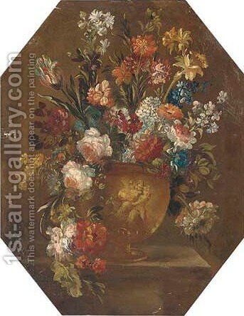 Mixed flowers in a vase on a ledge 2 by (after) The Pseudo-Guardi - Reproduction Oil Painting