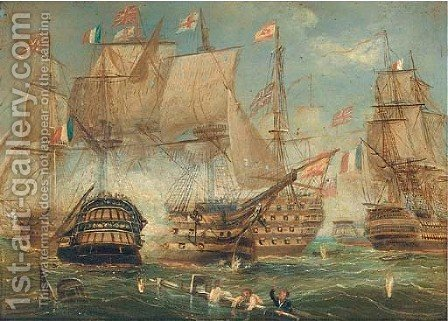 The battle of Trafalgar, 21st October, 1805 by (after) Thomas Sen Buttersworth - Reproduction Oil Painting