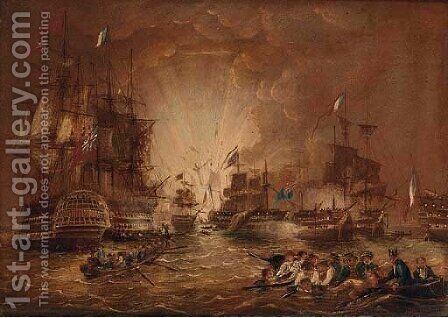 The battle of the Nile, 1st August, 1798 by (after) Thomas Sen Buttersworth - Reproduction Oil Painting
