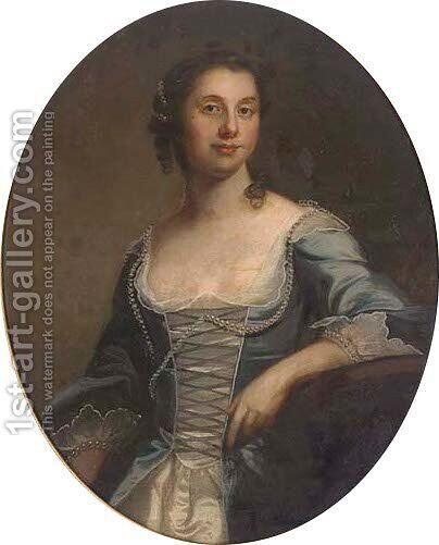 Portrait of a lady, traditionally identified as Kitty Clive (1711-1785) by (after) Thomas Hudson - Reproduction Oil Painting