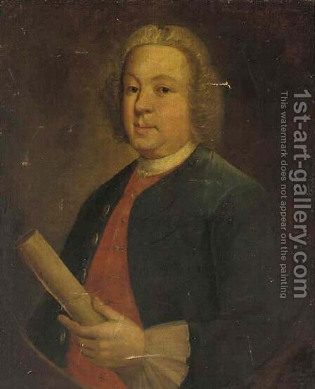 Portrait of Isaac Dawson (1694-1773) of Ashby-de-la-Zouch by (after) Thomas Hudson - Reproduction Oil Painting