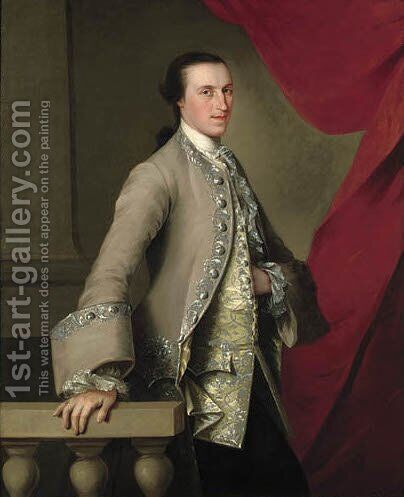 Portrait of a gentleman, three-quarter-length, in a grey coat with an elaborately embroidered yellow waistcoat by (after) Thomas Hudson - Reproduction Oil Painting