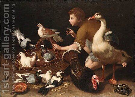 A goose, a hen, pigeons and doves in a basket, with a peasant boy by (after) Tommaso Salini (Mao) - Reproduction Oil Painting