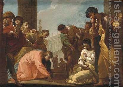 Christ and the Woman taken in Adultery by (after) Ubaldo Gandolfi - Reproduction Oil Painting