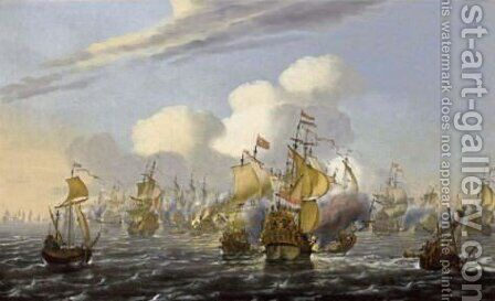 A Naval Battle Scene With An English Man-Of-War Sinking by (after) Willem Van De, The Younger Velde - Reproduction Oil Painting