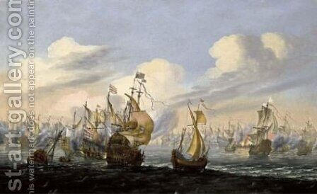 A Naval Battle Scene With An English Man-Of-War by (after) Willem Van De, The Younger Velde - Reproduction Oil Painting