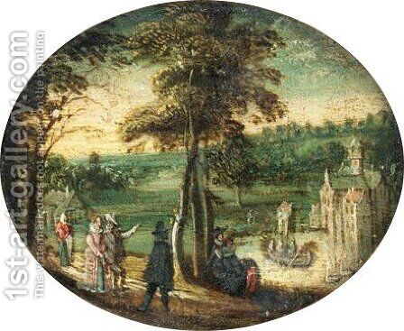 A Landscape With Elegant Figures Promenading Before A Lake With A Castle Beyond by (after) Willem Van De, The Younger Velde - Reproduction Oil Painting