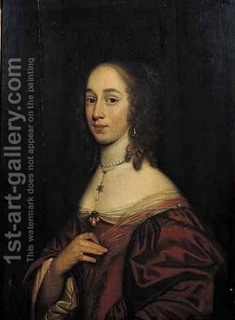 Portrait of a noblewoman, half length, wearing a red silk dress by (after) Willem Van Honthorst - Reproduction Oil Painting