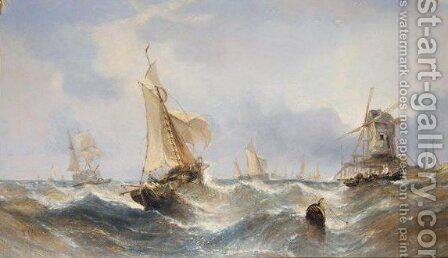 Hauling In The Nets by (after) William Calcott Knell - Reproduction Oil Painting