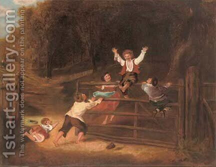 A game on the gate by (after) William Collins - Reproduction Oil Painting